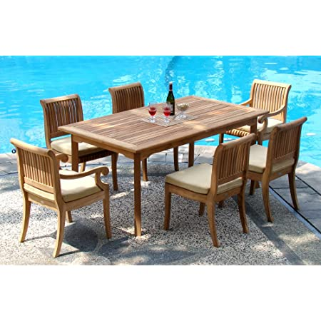 Amazon Com Wholesaleteak New 9 Pc Luxurious Grade A Teak Dining Set 94 Rectangle Table And 8 Stacking Leveb Arm Chairs Whdslvd Garden Outdoor