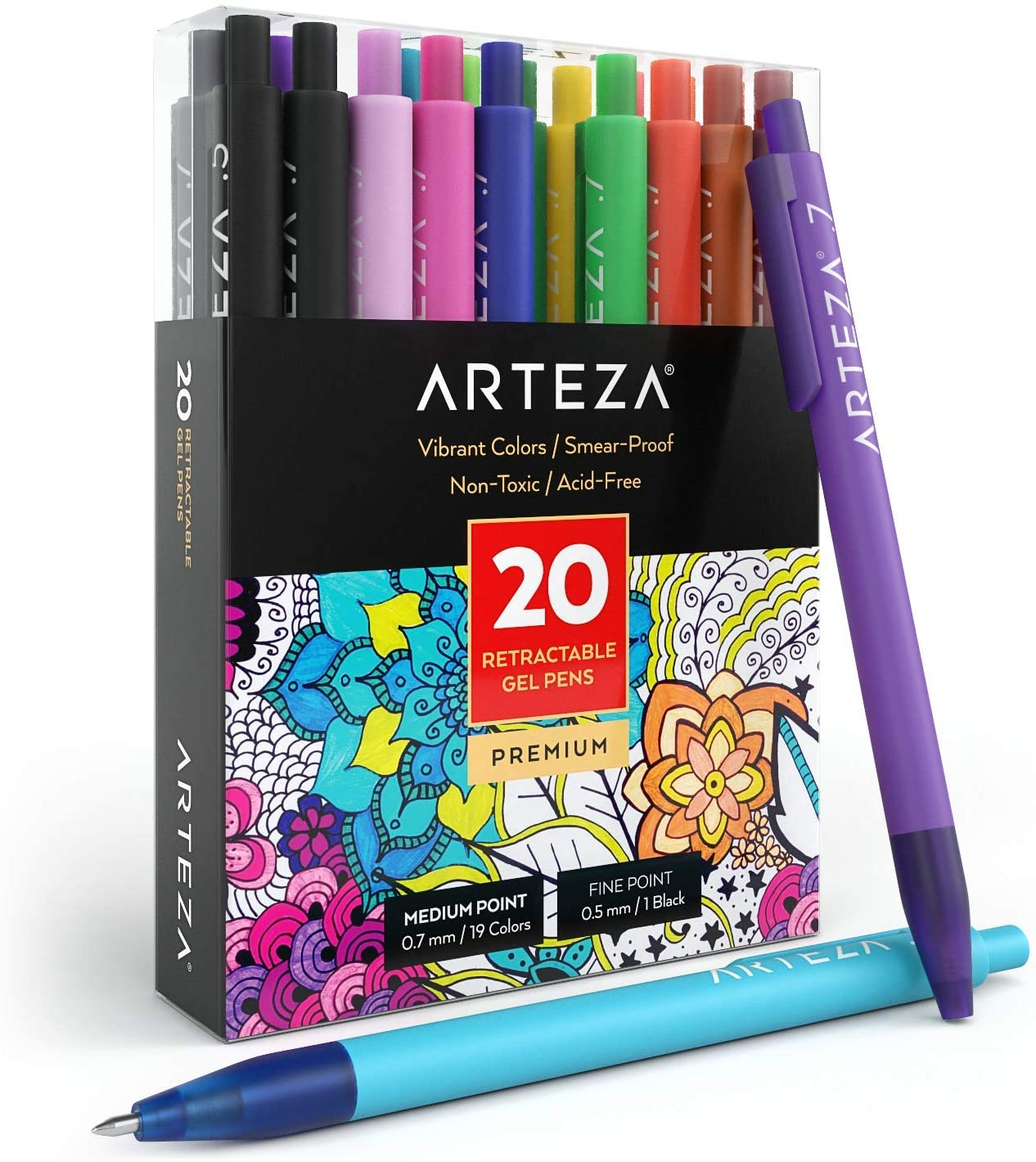 Arteza Retractable Gel Ink Pens, Set of 20 Assorted Colors, Fine Tip 0.7 mm, Art Supplies for Writing in a Notebook, Journal, Planner, Legal Pad, on Invitation Cards