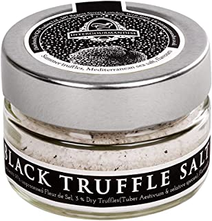 Black Truffle Salt | 1.4 Oz/ 40 gr Glass Jar | InterGourmandise | Gourmet Table Salt with Black Summer Truffles