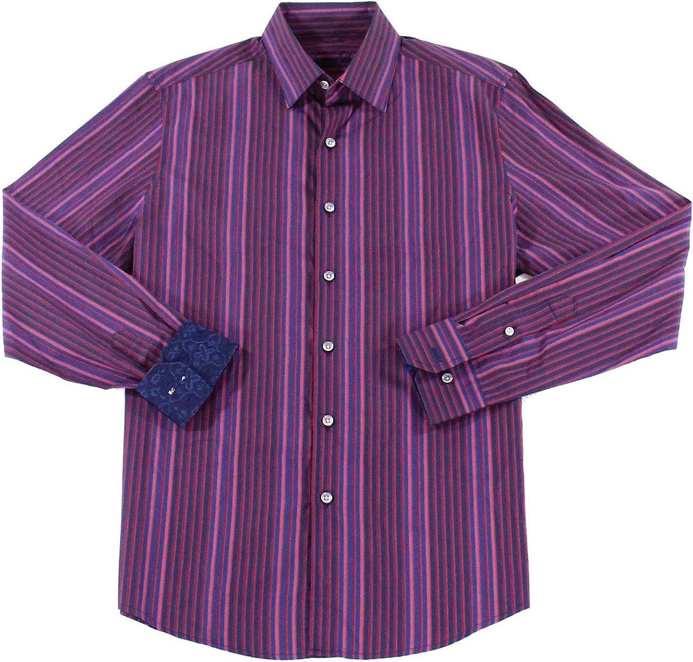 Tasso Elba Mens Long Sleeve Striped Casual Shirt