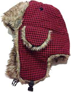 Womens Lined Aviator Style Furry Winter Hat With Earflaps - Houndstooth Black and Red