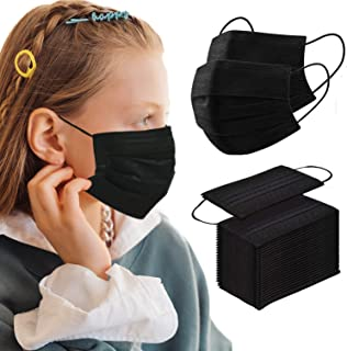 Kids Black Disposable Face Mask 100 PCS Breathable Safety Masks for Children 3-Layer Filtration Face Cover Mask for Indoor...