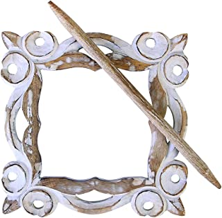 COLLECTIBLES INDIA Wooden Drape Clips Decorative Window Curtain TieBack Clip -Curtain Holder -Hand Carved Drapery Holdbacks Drape Binds Distressed Finish -for Office/Home Decor Accessories-7