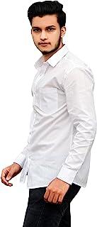 JJ Men's White Full Sleeve Shirt 100% Cotton with Lightweight Fabric