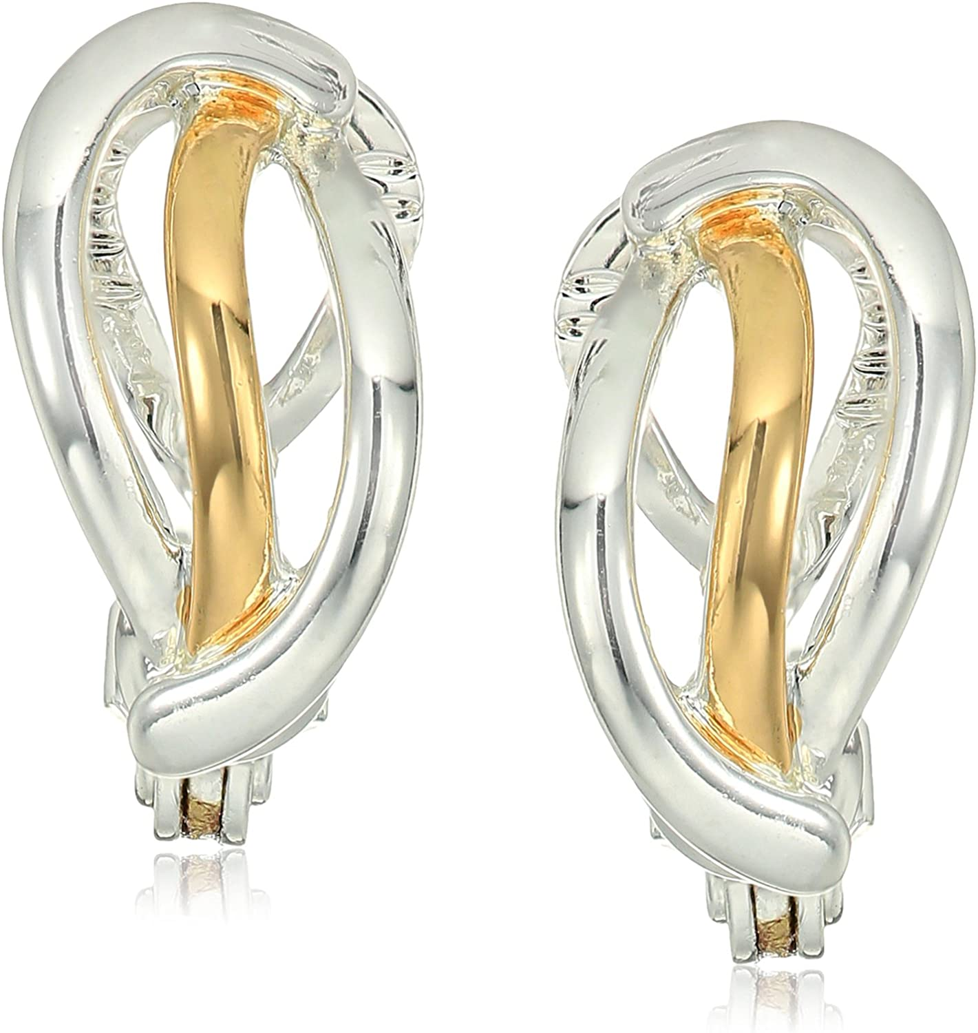 Napier Two-Tone Crossover Clip-On Earrings