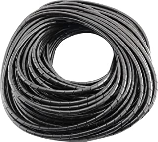 4mm Dia 25M Length Cable Wire Tidy Wrap Spiral Wrapping Band Organizer Black