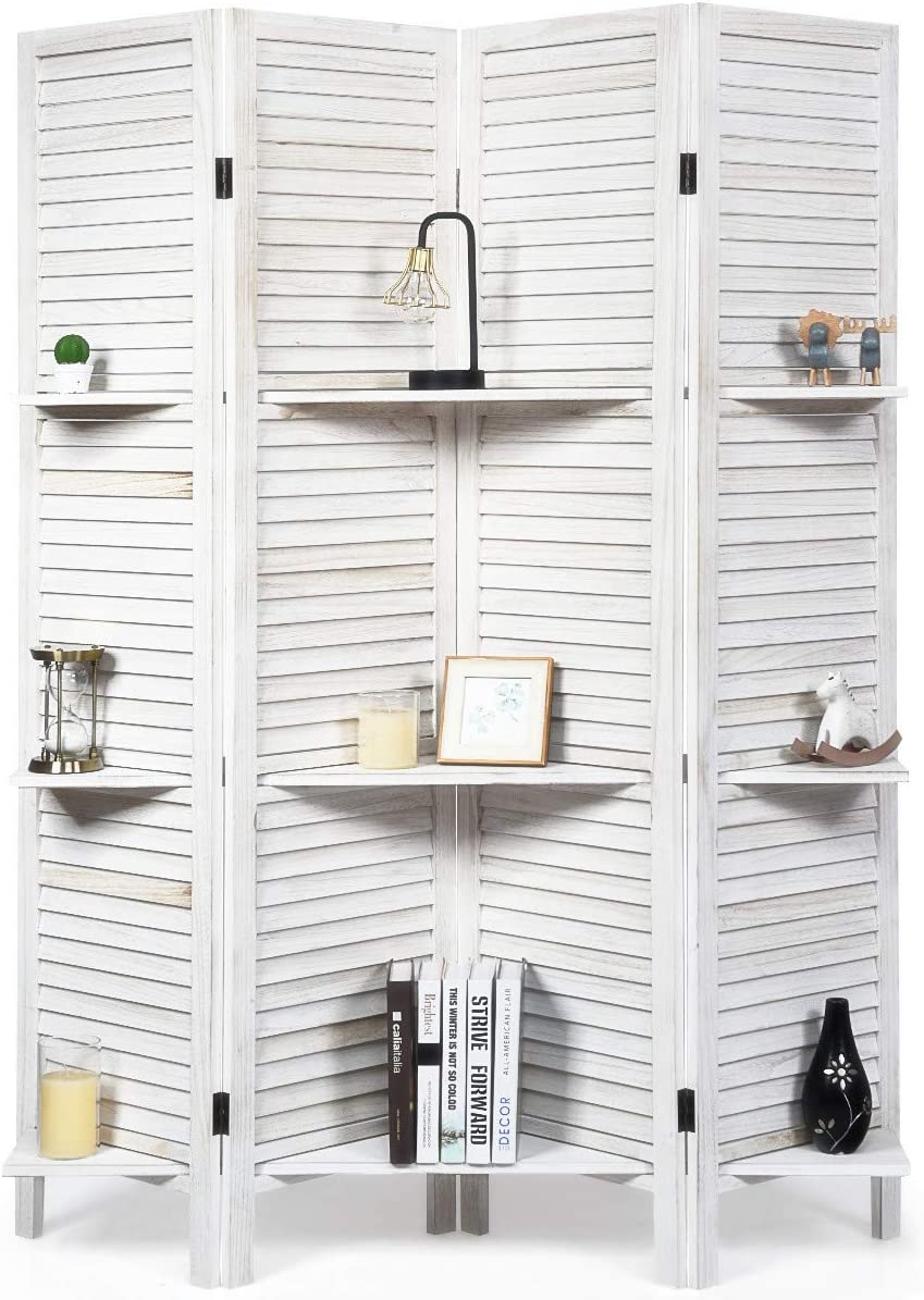 RELAX4LIFE Wood Room Divider Max 61% OFF Max 41% OFF 5.6 Ft Three Tier Shel 4 with Panel