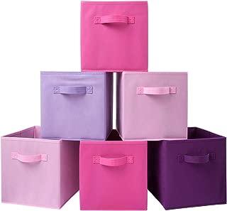 Homelife Foldable Cube Storage Box Pink Set of 6, Organizer Basket, Bin for Laundry, Bedroom, Toys, Nursery, Shelf, Multi Color