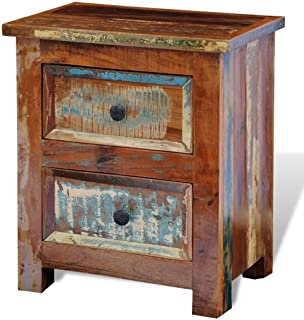 Daonanba Bedside Cabinet with Drawers, Living Room Bedroom Furniture, Solid Reclaimed Wood Nightstand