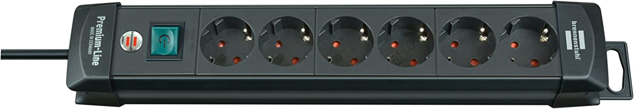 Brennenstuhl Premium-Line Stekkerdoos, 6-voudig (stekkerdoos met schakelaar en 3 m kabel - 45° hoek van de geaarde stekker...