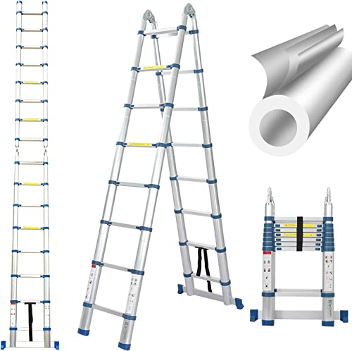 high quality 16.5 Ft Telescoping Ladder, Extension popular Ladder, popular A-Frame Portable Folding Ladder Aluminium Lightweight 330lb Load Capacity with Support Bar Anti-Slip outlet sale