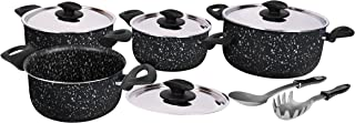 Grandi Cook Marble set 10 pcs Stewpot 16-18-22-26 + 2 Kitchen Tools Free (Black Granite)
