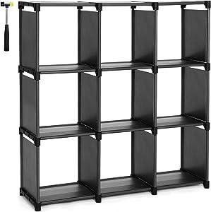 SONGMICS Estantería Modular Librería Abierta con 9 Cubos Armario de Almacenamiento para Estudio de Hogar Sala de Estar Negro LSN45BK