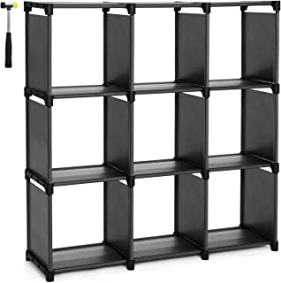 SONGMICS 9 Cube DIY Storage Shelves Open Bookshelf Closet Organizer Rack Cabinet Black