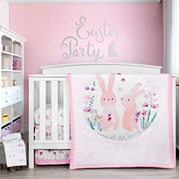 TILLYOU Luxury 4 Pieces Floral Crib Bedding Set (Embroidered Comforter, Crib Sheets, Crib Skirt) - Floral & Bunny Theme Printed Nursery Bedding Set for Girls, Pink