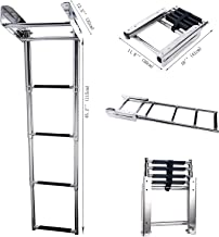 Amarine-made 4-Step Stainless Steel Under Platform Slide Mount Boat Boarding Telescoping Ladder - FBA