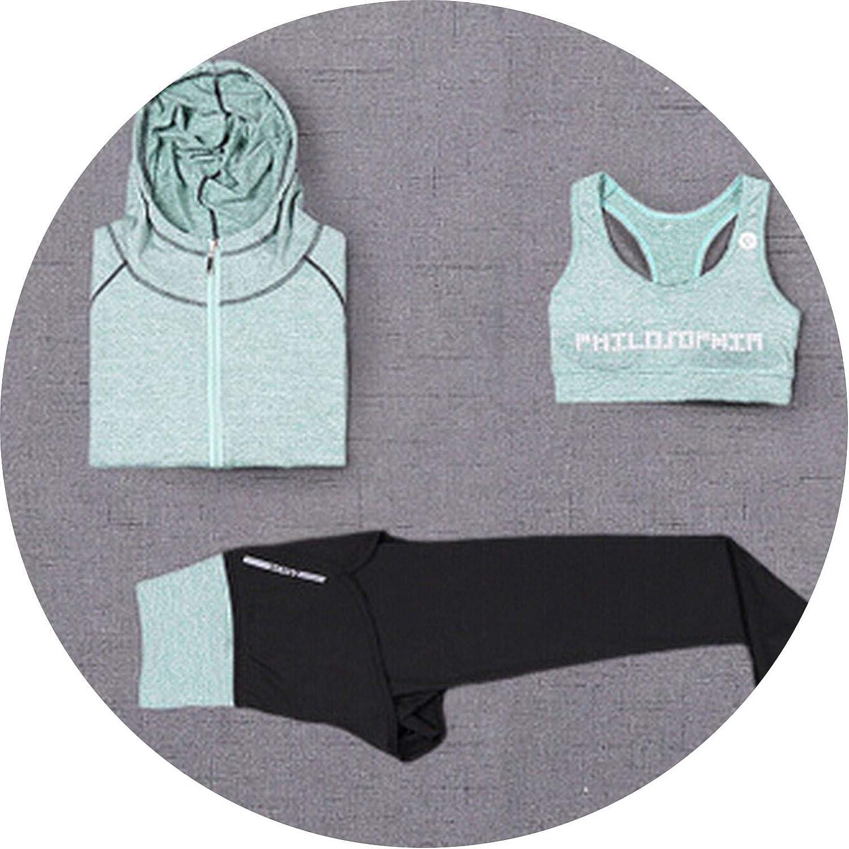 Don't mention the past High Waist Pants+Hooded Coat+t Shirt+Bra+Pants Women Yoga 5 Pieces Set Fitness Gym Clothing Sports Set
