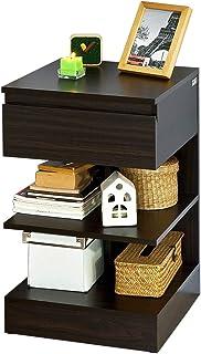 SoBuy® Mesita de Noche con 1 cajón y 2 estantes Consola Mesa Auxiliar para salón ComedorFBT49-BRES (Marrón)