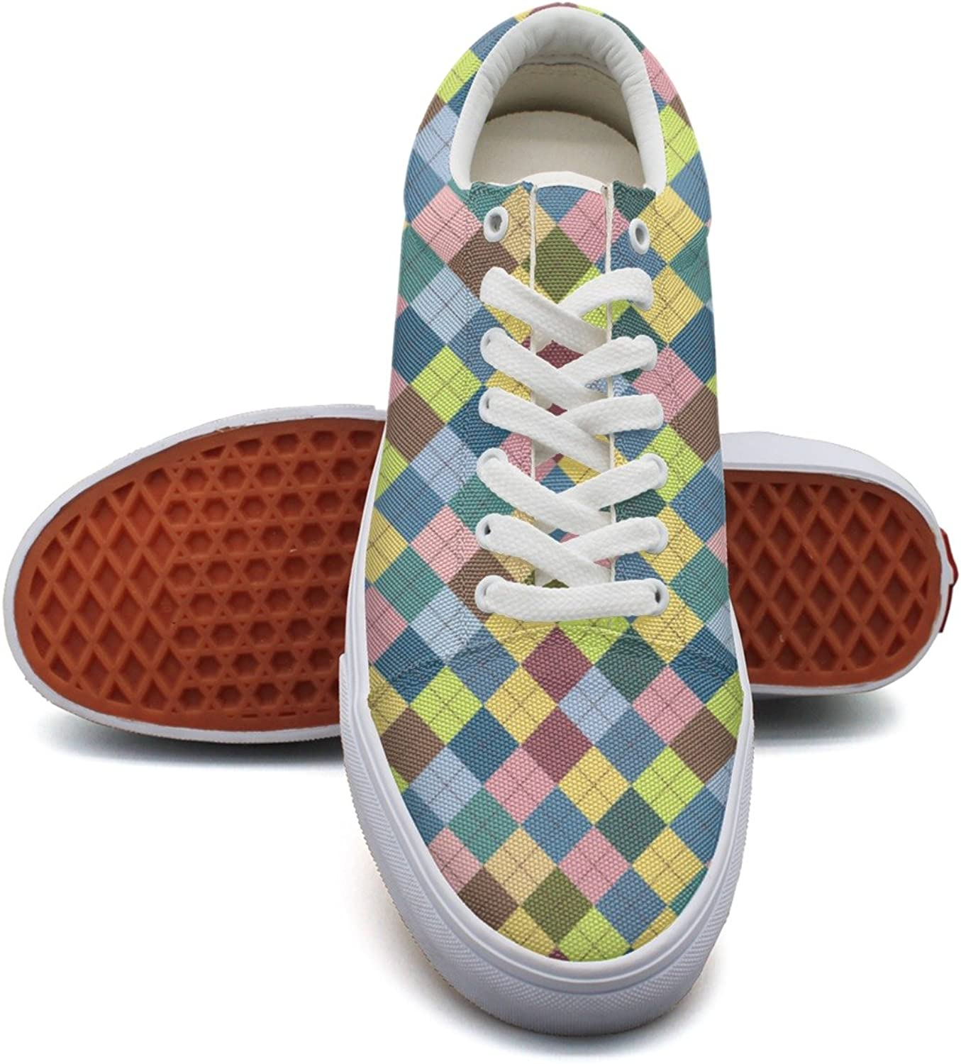Charmarm colorful Checkerboard Women Utility Low Top Canvas Slip-on shoes