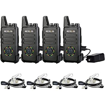 Retevis RT42 Walkie Talkies for Adults Rechargeable,22 Channel Display Mini Walkie Talkies with Earpiece Small 2 Way Radios for Business 10 Pack
