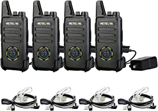 Retevis RT22S Two-Way Radios Rechargeable FRS 22 CH Emergency Lock Signal Prompt Dustproof VOX Long Range Walkie Talkies with Earpieces 2 Pin(4 Pack)