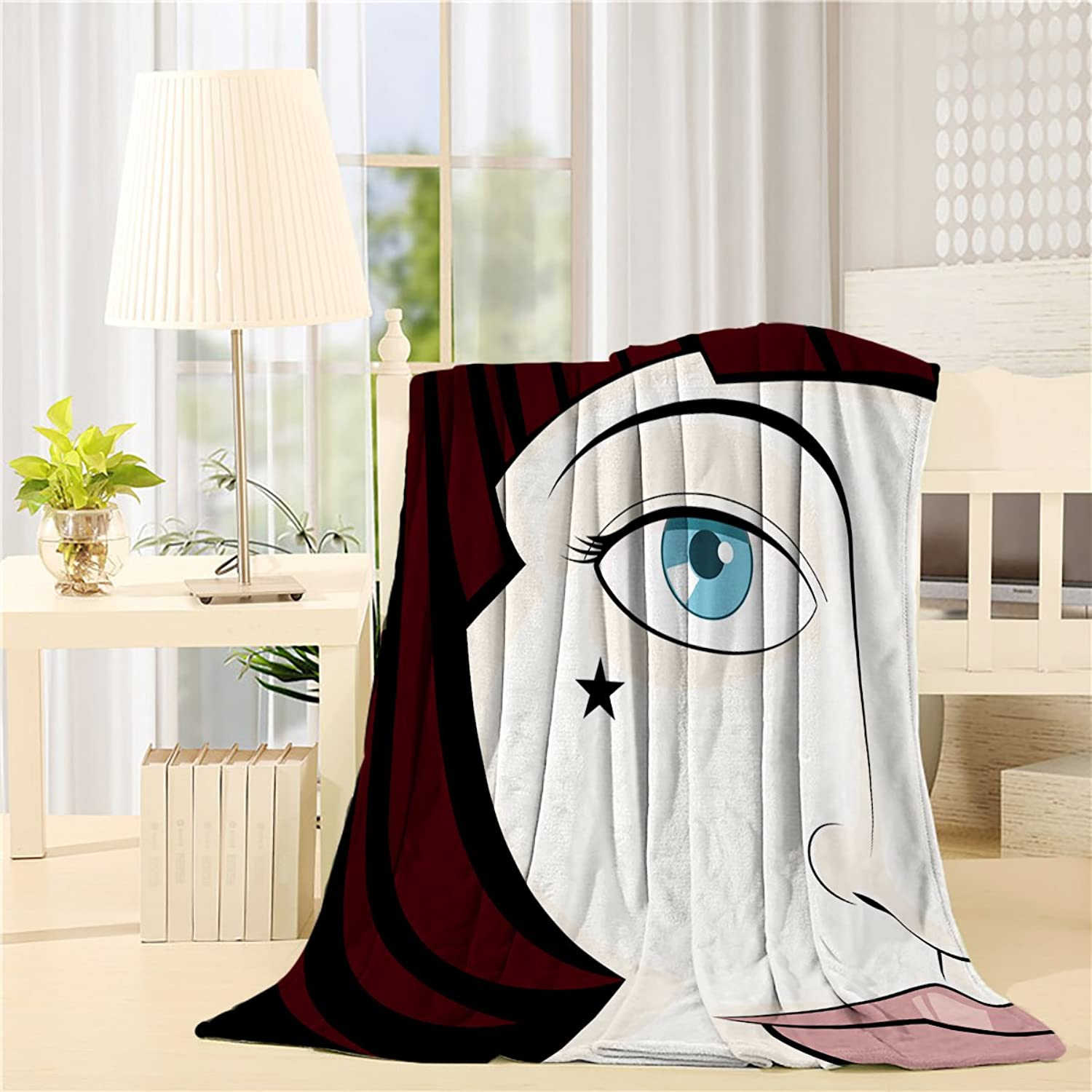 Luxury Extra Soft Throw Blanket Girl Face Printed Flannel Fleece Reversible Blankets Weighted Super Warm Cozy Couch Blanket 40x50Inches