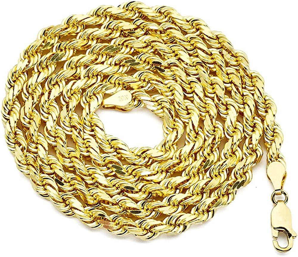 10K Yellow Gold 5mm Diamond Cut Rope Chain Necklace with Lobster Lock