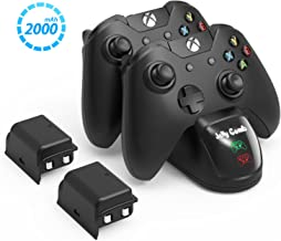 Jelly Comb Wireless Controller Charger Compatible with Xbox One, Standard and Elite Controllers, Two 2000 mAh Batteries Included