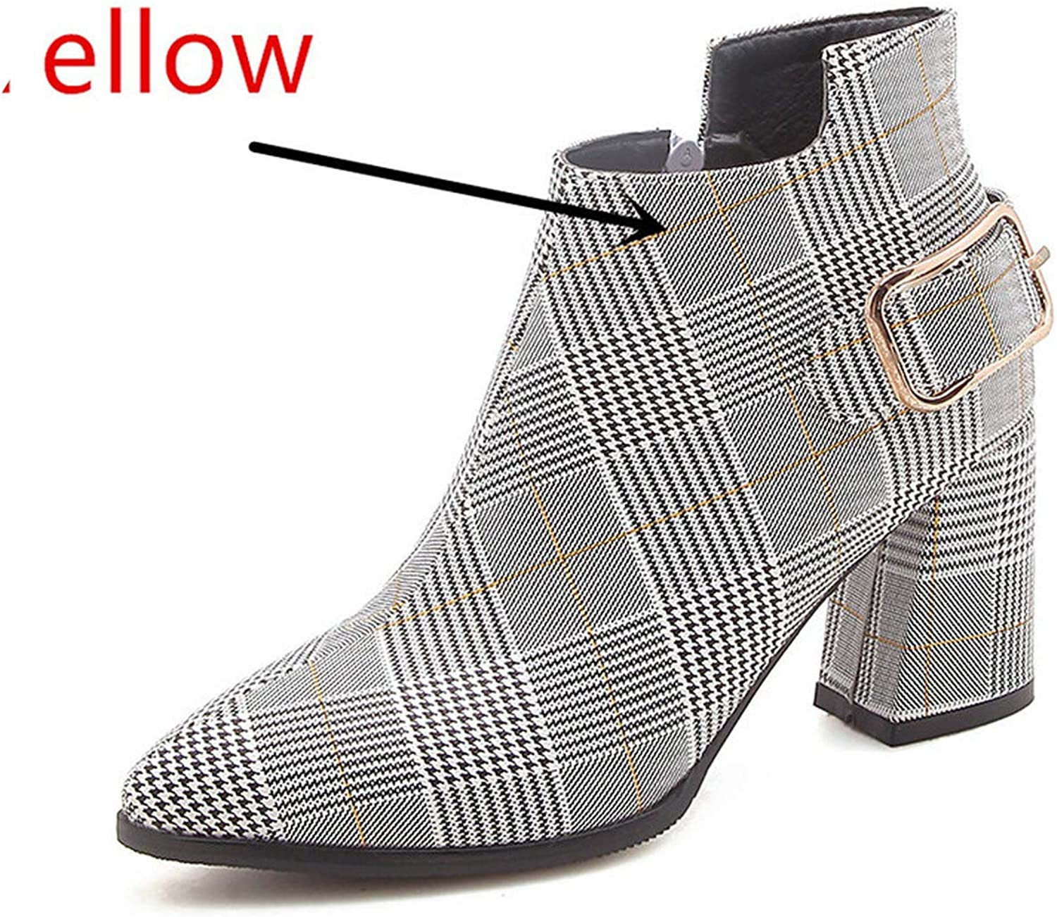 Large Size Women Boots Fashion Plaid Pointed Toe High Heels Women's shoes Sexy Ankle Boots Female