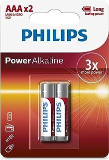 Philips LR03P2B Power Alkaline Battery Set, 1.5 Volt, Type AAA - 2 Pieces