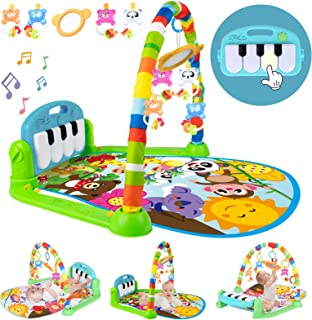 Baby Play Mat Baby Gym With Music And Lights, Activity Gym Mat With Multiple Sensory Infant Baby Toys, Detachable Kick And...