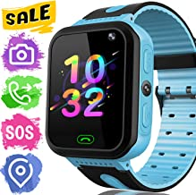 AMENON [New Version] Smart Watch for Kids GPS Tracker/Two-Way Call SOS Anti-Lost Games Camera/Child Watch for Boys Girls Toddler 3-12 Years Old/1.44 Inches Touch Screen Kids Phone Watch Android iOS