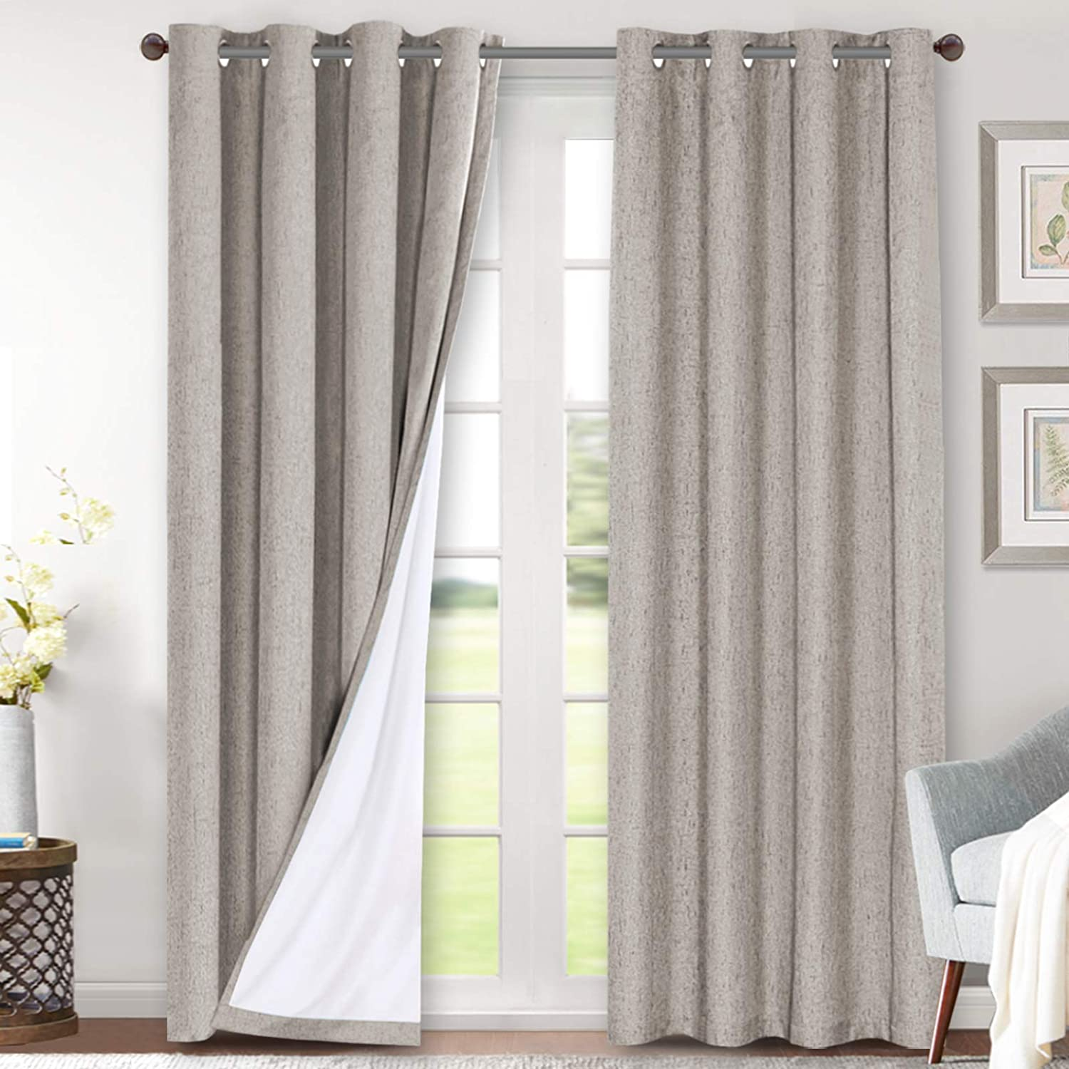 Linen Blackout Curtains 96 Inches Long 100% Total Blackout Heavy-Duty Draperies for Bedroom Living Room Thermal Insulated Textured Functional Window Treatment Anti Rust Grommet (Taupe, 2 Panels)
