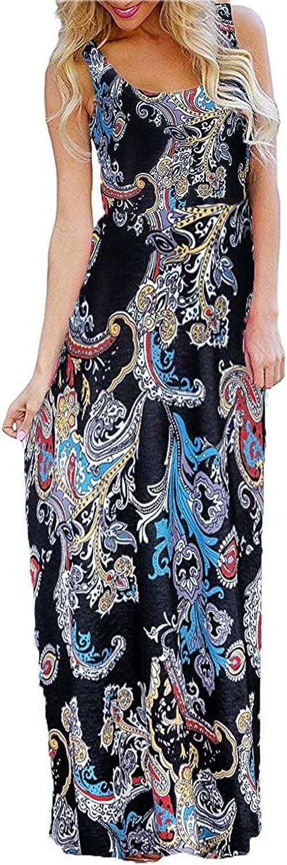 Bluetime Women Summer Sleeveless Floral Boho Maxi Long Dresses Beach Sundress with Pockets