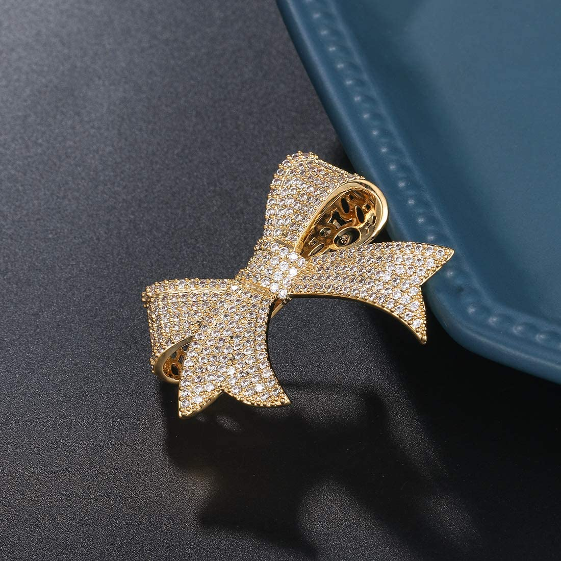 WeimanJewelry Real Gold Plated Cubic Zirconia CZ Ribbon Bridal Bowknot Bow Brooch Pins for Women