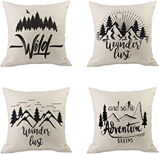 "Zeimon 4Pcs World Map Pillow Cases Adventure Awaits Explore Decorative Throw Pillow Covers Sea Ocean Theme Cushion Covers 18""×18""(Wild Adventure)"