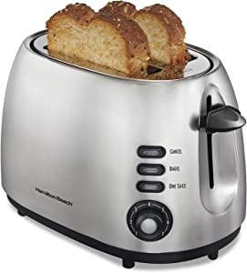 Hamilton Beach 22220 Toaster with Bagel & Defrost Settings, Boost, Slide-Out Crumb Tray Extra Wide Slot, 2 Slice, Sure Toast (Renewed)