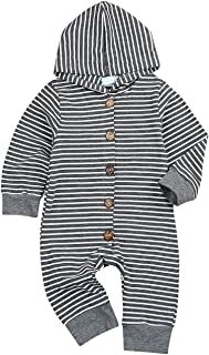 Younger tree Newborn Baby Jumpsuit Boys Girls Long Sleeve Gray Striped Romper Onesie Outfit Clothes