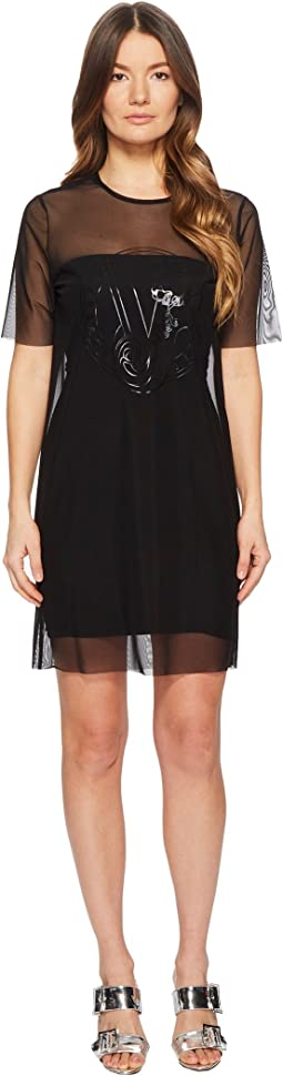 Sheer Overlay Short Sleeve Dress