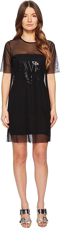 Versace Jeans Sheer Overlay Short Sleeve Dress