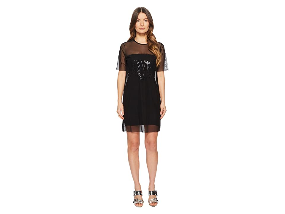 Versace Jeans Couture Sheer Overlay Short Sleeve Dress (Nero) Women