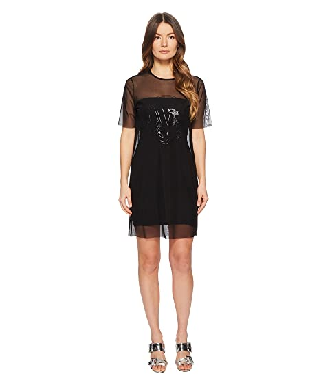 Versace Jeans Couture Sheer Overlay Short Sleeve Dress