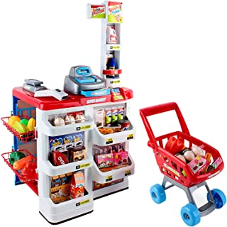 Keezi 24pcs Kids Pretend Supermarket Toy Set Store Role Play w/ Trolley Battery