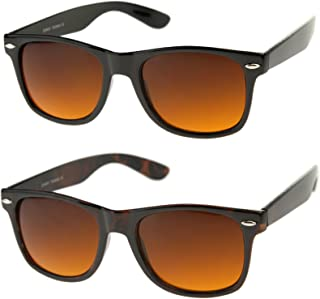 4aa927fd789 Blue Blocking Driving Horn Rimmed Sunglasses Amber Tinted Lens 54mm