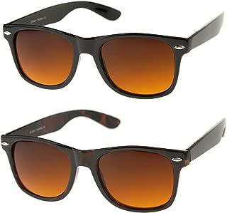 Blue Blocking Driving Horn Rimmed Sunglasses Amber Tinted Lens 54mm
