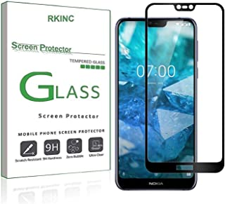 RKINC Screen Protector for Nokia 8.1, [1 Pack] Full Coverage Tempered Glass Clear Screen Protector [9H Hardness][2.5D Round Edge][0.33mm Thickness] forNokia 8.1, Black