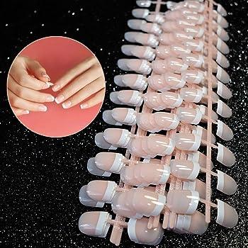 Ealicere Falsche Nägel, 240 Stück 12 verschiedene Größen Natürliche französische Künstliche Fingernägel False Nail Tips,French Style ABS Fake Nails