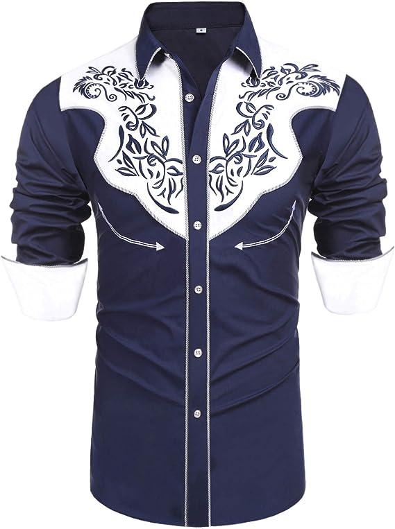 1950s Mens Shirts   Retro Bowling Shirts, Vintage Hawaiian Shirts Daupanzees Mens Long Sleeve Embroidered Shirts Slim Fit Casual Button Down Shirt  AT vintagedancer.com