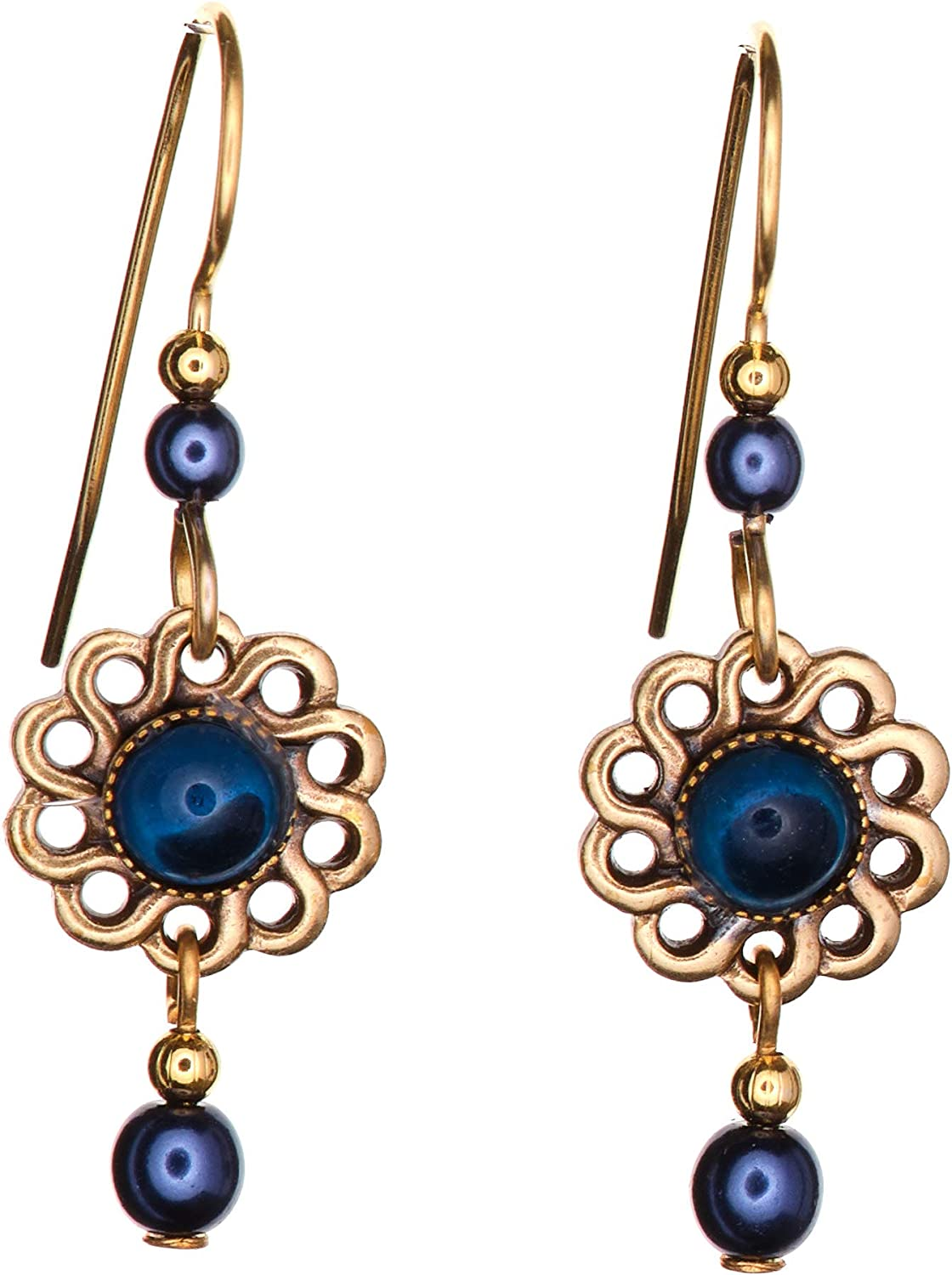Silver Finally popular brand Free shipping Forest Blue Twisted Floral Si Petal Drop Earrings Dangle