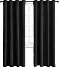 WONTEX Blackout Curtains Thermal Insulated with Grommet Curtains for Bedroom, 52 x 84 inch, Black, 2 Panels